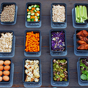 buffet-style-meal-prep-with-shredded-chicken-and-roasted-veggies